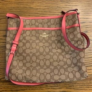 Coach Signature Canvas Crossbody with Pink accents